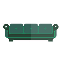 Green isolated sofa with bright and dim parts vector