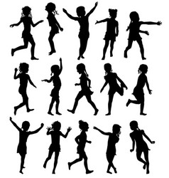 set silhouettes happy girls jumping and running vector image