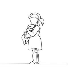 Little girl hugs puppy vector