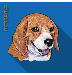 Beagle portrait with long shadow vector