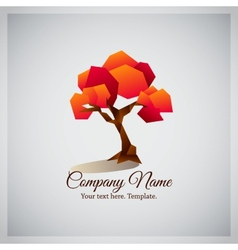 Company business logo with geometric red tree vector