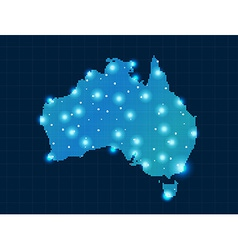 Pixel australia map with spot lights vector