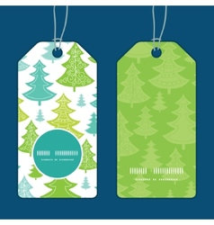 Holiday christmas trees vertical round vector