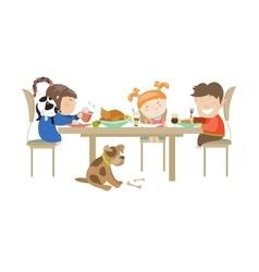 Children eating on a white vector