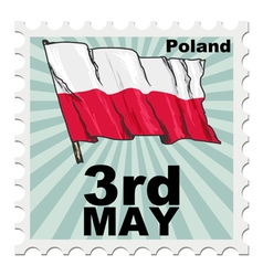 Post stamp of national day of poland vector