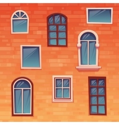 Background of wall with windows vector