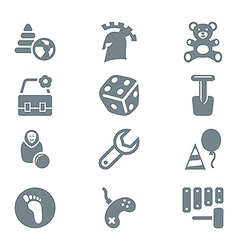 Gray icon set children toys and games vector