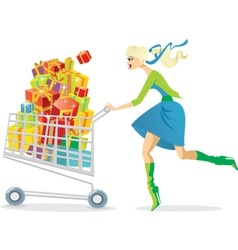 young girl on a shopping spree vector image