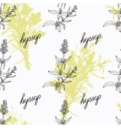 Hand drawn hyssop branch flowers and handwritten vector