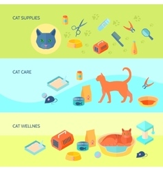Cats 3 horizontal flat banners set vector