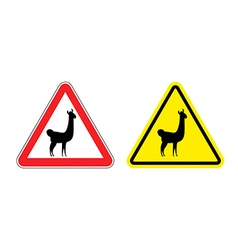Warning sign attention lama hazard yellow sign vector