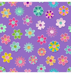 Seamless pattern of paper flowers vector
