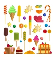 Set of sweet food icons in flat style vector