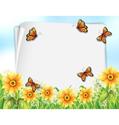 Paper design with butterflies and flowers vector image