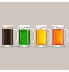 Four mug of different beer vector