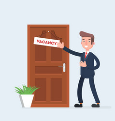 businessman invites to work the vacancy appeared vector image