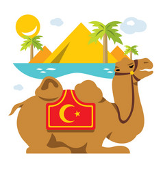 camel and palms in the desert oasis flat vector image
