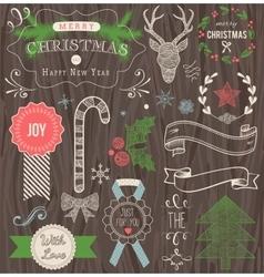 Christmas hand drawn set vector