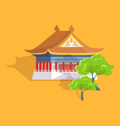 Confucius oldest temple in taiwan flat and shadow vector