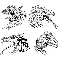 Dragon head tattoos vector