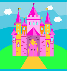 Fairy castle pink palace for vector