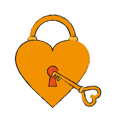 Heart padlock draw vector