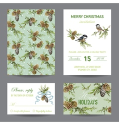 Invitation or greeting christmas card set vector