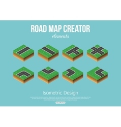Isometric road creator elements for city building vector