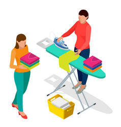 Isometric woman ironing clothes using iron on vector