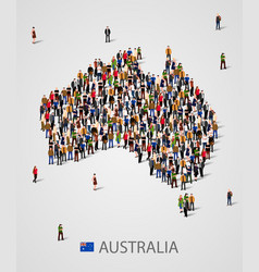 Large group of people in form of australia map vector