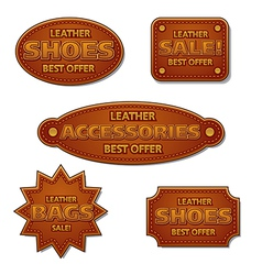 leather sale badges vector image vector image