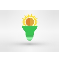 Light green bulb with sun vector image vector image