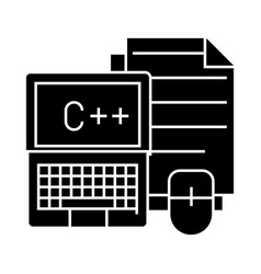 Notebook with mouse and files icon vector