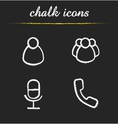 Online conference chalk icons set vector