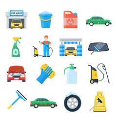 professional carwash object colorful set vector image