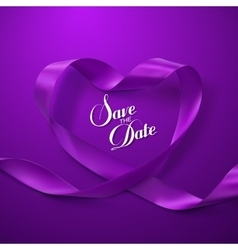Save the date purple ribbon heart vector