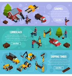 Sawmill isometric horizontal banners vector