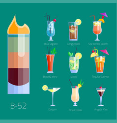 set of alcoholic cocktails isolated fruit cold vector image