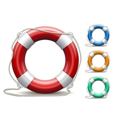 Set of life buoys on white background vector image vector image