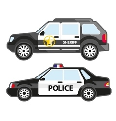 Set of police automobiles Urban patrol vehicle vector image