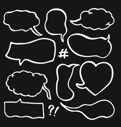 set of sketched speech bubbles vector image vector image