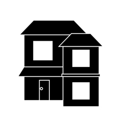 Silhouette home two floor out windows brown roof vector