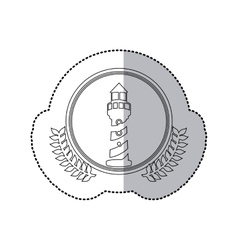 Sticker monochrome with half shadow and tower of vector