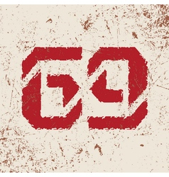 T shirt typography graphic with red number grunge vector image vector image
