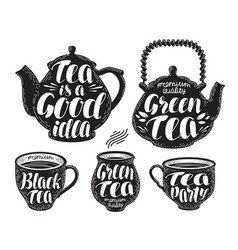 Tea label set teapot cup hot drink icon or vector