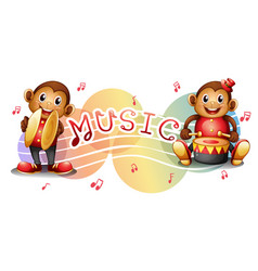Two monkeys with music notes in background vector