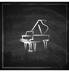vintage with the grand piano on blackboard vector image