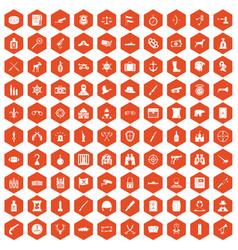 100 guns icons hexagon orange vector