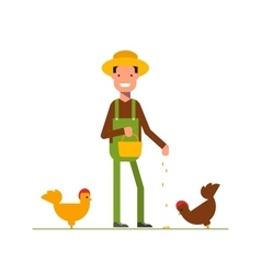 Happy farmer in a straw hat feeds the chickens vector