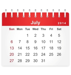 Stylish calendar page for July 2014 vector image